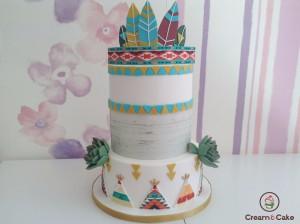 tarta fondant decorada indios