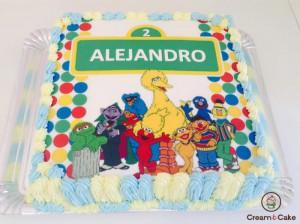 tarta celebración cumpleaños decorada barrio sesamo