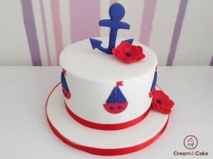 tarta cumpleaños decoracion marinera con fondan